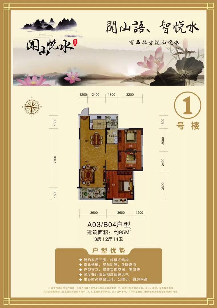 A03.B04户型3房2厅1卫建筑面积95㎡