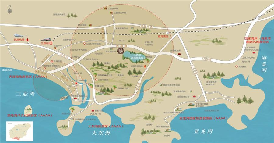 三亚一山湖区位图