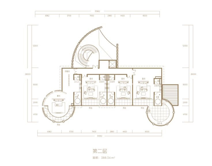 A二层-6房4厅1厨8卫-建筑面积1102.49㎡